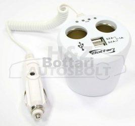 Szivargyújtó elosztó 2-es 12V vezetékes USB fehér