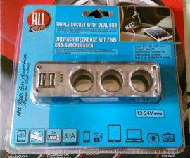 Szivargyújtó elosztó 3as + USB 12V-24V